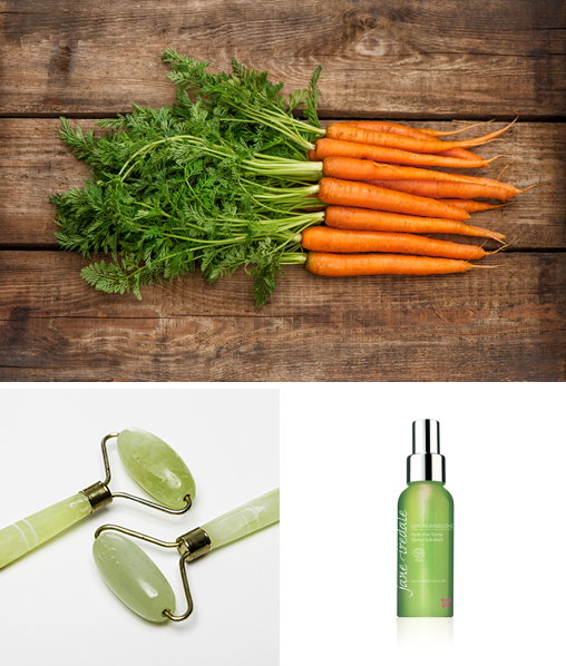 raw carrots, hydrating mist and jade rollers